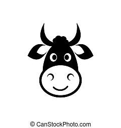cabeza, vaca, icono