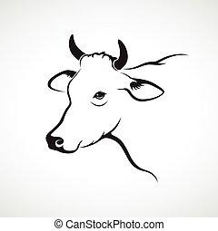 cabeza, vaca, imagen, vector, plano de fondo, blanco