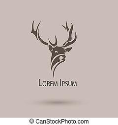 cabeza, vector, arte, resumen, estilizado, deer., logotipo