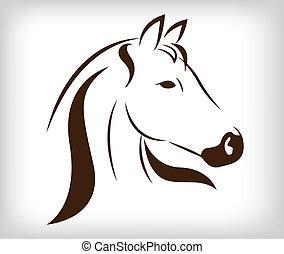 cabeza, vector, caballo