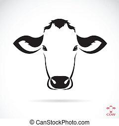 cabeza, vector, imagen, vaca