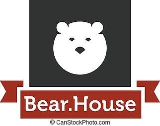 cabeza, vector, logotype, oso, minimalistic