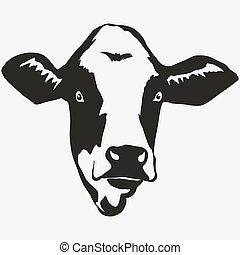 cabeza, vector, vaca