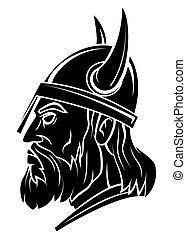 cabeza, vector, viking, guerrero