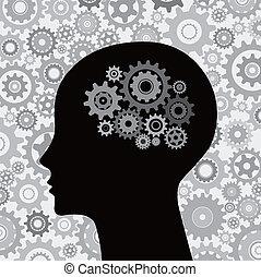cabeza y, cerebro, engranajes, plano de fondo