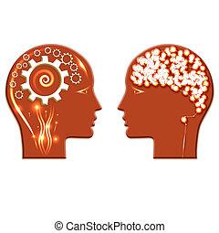 cabezas, gente, ilustración, dos, brillado, cerebro,...