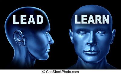 cabezas, humano, plomo, aprender