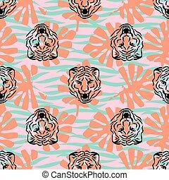 cabezas, patrón, rayas, seamless, tigre, vector, palma, leaves.