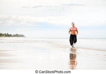 cabido físicamente, funcionamiento del hombre, en la playa