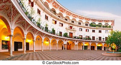 cabildo, reggel, köztér, del, seville, spanyolország