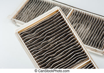 worn cabin air conditioner filter of car, old auto part