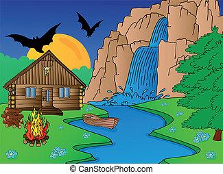 Cabin and falls - vector illustration.