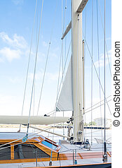 Cabin and Mast on Sailboat