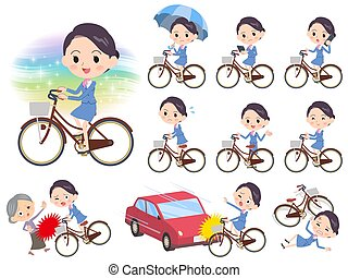 Cabin attendant blue women city bicycle