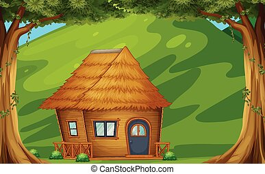 Cabin - Illustration of a wood cabin in the forest