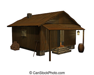 3d rendered wooden cabin on white background. This is a cabin from one of my other images, isolated against a white background.