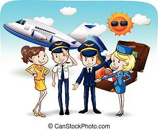 Cabin crew - Pilots and flight attendants in uniform