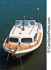 Cabin cruiser. Brindisi. Puglia. Italy.