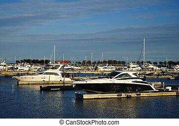 Cabin Cruisers Docked at Marina