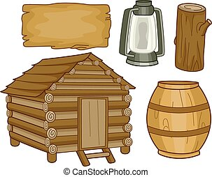 Cabin Elements - Illustration of Different Elements Usually ...