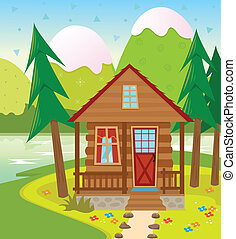 Cabin - A Cabin in the woods with a lake and snow capped...