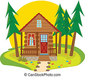 Cabin Icon - Cute cabin in the woods. Eps10