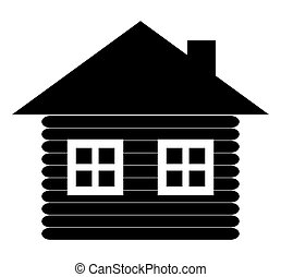 Cabin icon silhouette. Cottage vector illustration isolated on white background.