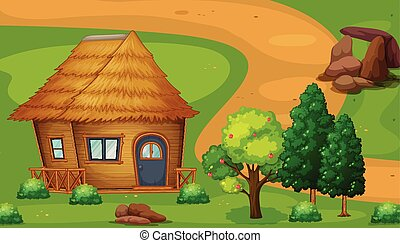 Cabin - Illustration of a wood cabin by the trail