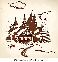 cabin in the woods - Winter landscape. The cabin, trees and...
