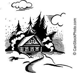 Winter landscape. The cabin, trees and snow. Monochrome drawing.