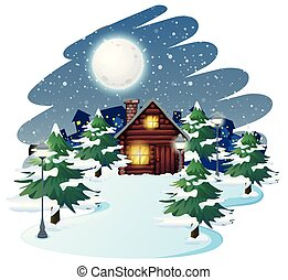 Cabin in winter background