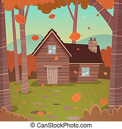 Cabin in woods - Cartoon illustration of the autumn forest...
