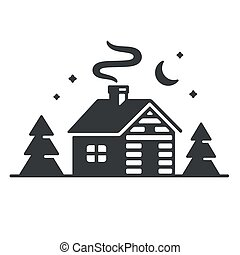 Cabin in woods icon - Log cabin in woods icon or logo. ...