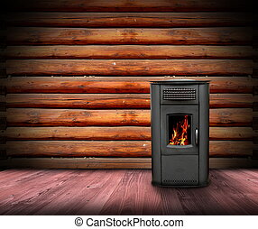 cabin interior backdrop with burning fire in metal stove