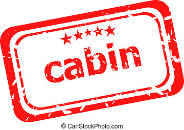 cabin on red rubber stamp over a white background