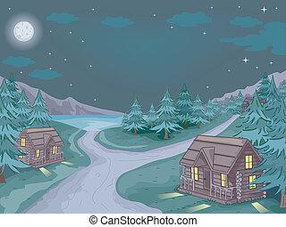 Cabin Village Night