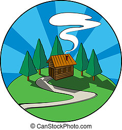 Cabin - Wooden house, cabin in the forest. Graphic icon.