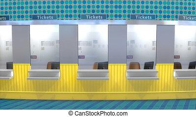 cabina de boleto, mostrador