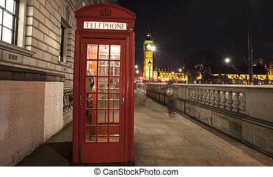 cabina de teléfono roja, por la noche, big ben, en, el, distancia, londres, reino unido