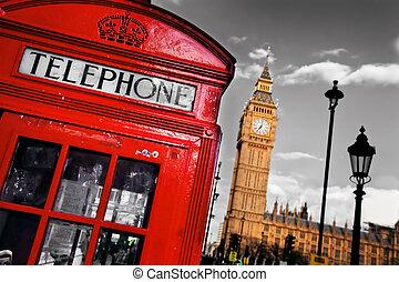 cabina de teléfono roja, y, big ben, en, londres, inglaterra, el, reino unido