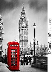 cabina de teléfono roja, y, big ben, en, londres, inglaterra, el, uk.