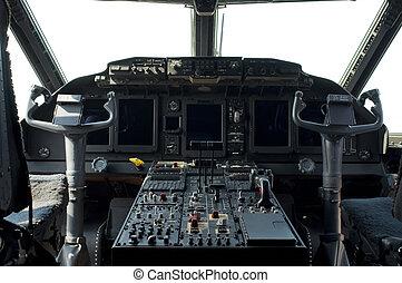 cabina piloto, de, um, aeronave militar