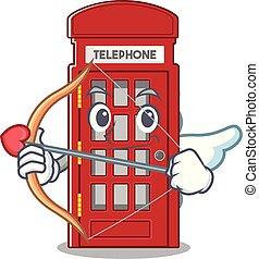 cabina telefónica, forma, carácter, cupido, mascota