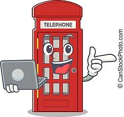 cabina telefónica, forma, computador portatil, carácter, mascota