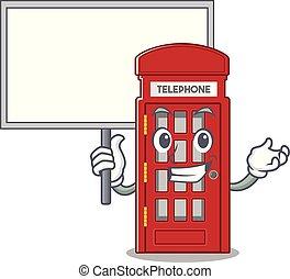 cabina telefónica, forma, tabla, carácter, mascota, traer