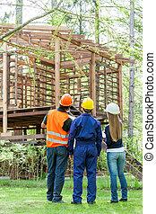 cabine, bois, architectes, regarder, arrière, incomplet, vue