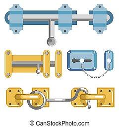 cabine, boulon, porte, ou, chaîne, métal, loquets, crochet