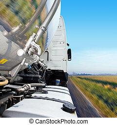 cabine camion, et, pétrolier, caravane