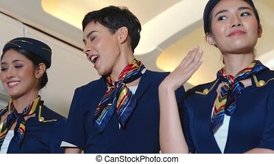 cabine, danse, joie, avion, équipage