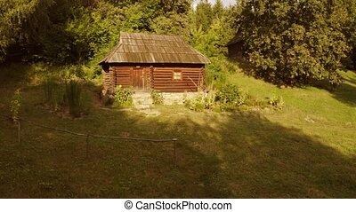 cabine, forest., ancien, rustique